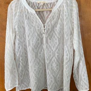Women's Miami White Sheer Blouse Med Francesca's